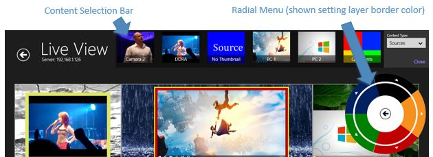 Live View radial menu and content bar